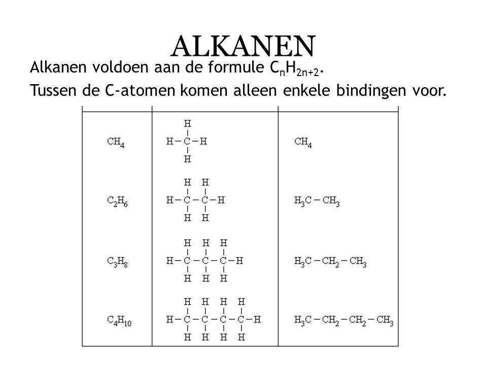 Alkanen hebben een ruimtelijke structuur. De koolstofketen kan 'recht' of 'krom' zijn. (zie bron 2)