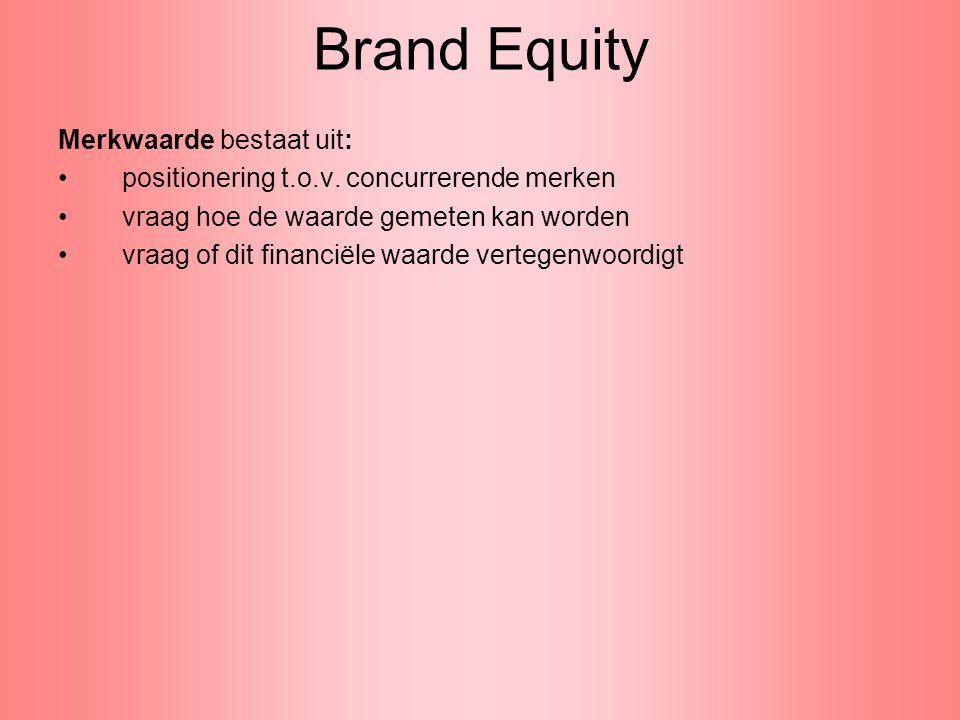 Brand Equity Merkwaarde bestaat uit: positionering t.o.v. concurrerende merken vraag hoe de waarde gemeten kan worden vraag of dit financiële waarde v