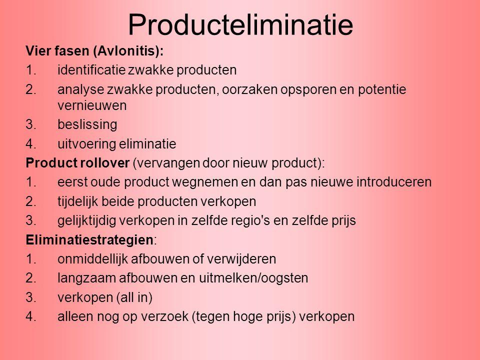 Producteliminatie Vier fasen (Avlonitis): 1.identificatie zwakke producten 2.analyse zwakke producten, oorzaken opsporen en potentie vernieuwen 3.besl