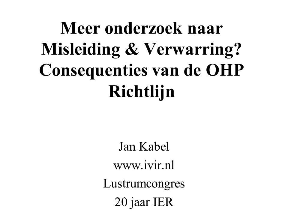 Meer onderzoek naar Misleiding & Verwarring? Consequenties van de OHP Richtlijn Jan Kabel www.ivir.nl Lustrumcongres 20 jaar IER