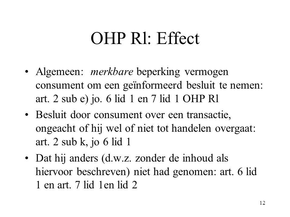 12 OHP Rl: Effect Algemeen: merkbare beperking vermogen consument om een geïnformeerd besluit te nemen: art. 2 sub e) jo. 6 lid 1 en 7 lid 1 OHP Rl Be