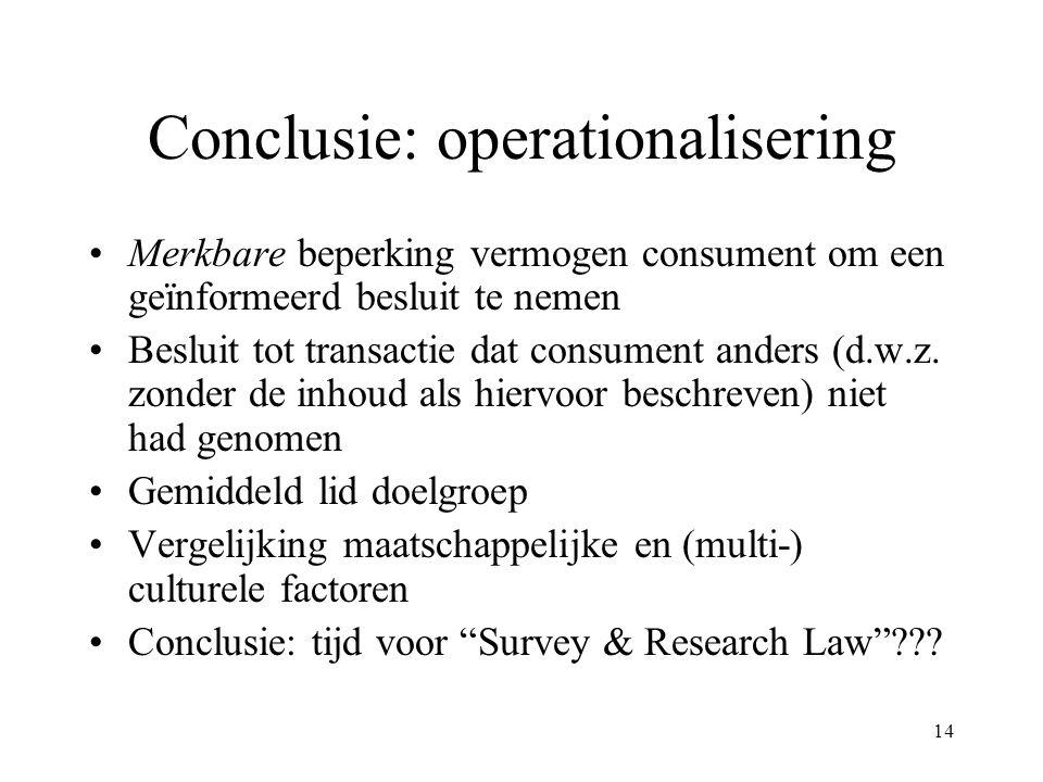14 Conclusie: operationalisering Merkbare beperking vermogen consument om een geïnformeerd besluit te nemen Besluit tot transactie dat consument ander