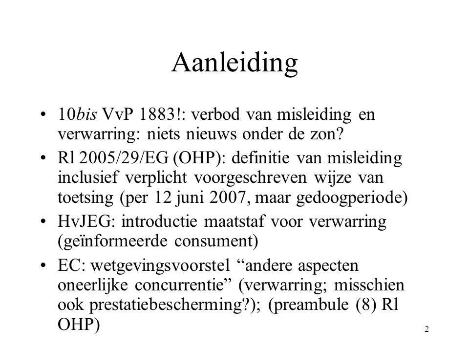 2 Aanleiding 10bis VvP 1883!: verbod van misleiding en verwarring: niets nieuws onder de zon? Rl 2005/29/EG (OHP): definitie van misleiding inclusief