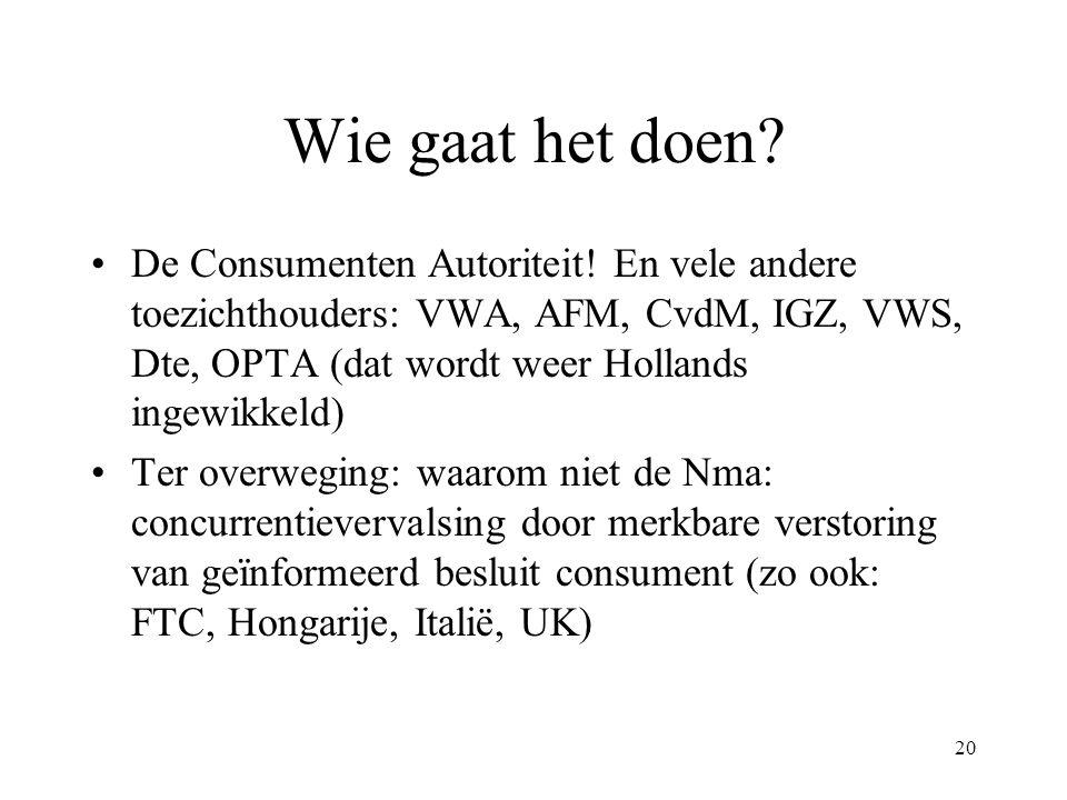 20 Wie gaat het doen? De Consumenten Autoriteit! En vele andere toezichthouders: VWA, AFM, CvdM, IGZ, VWS, Dte, OPTA (dat wordt weer Hollands ingewikk