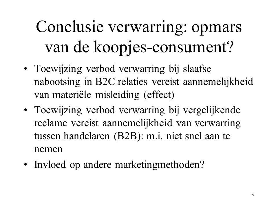 9 Conclusie verwarring: opmars van de koopjes-consument? Toewijzing verbod verwarring bij slaafse nabootsing in B2C relaties vereist aannemelijkheid v
