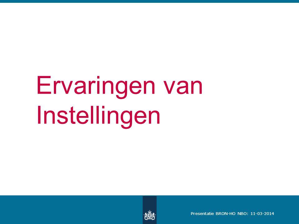 Presentatie BRON-HO NBO: 11-03-2014 Ervaringen van Instellingen