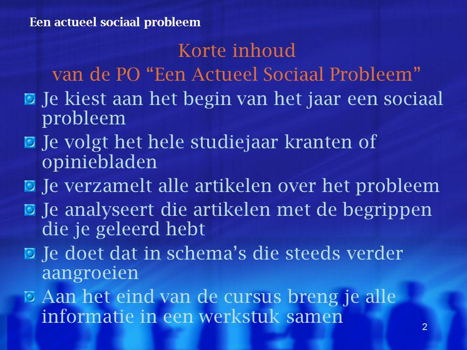 """2 Een actueel sociaal probleem Korte inhoud van de PO """"Een Actueel Sociaal Probleem"""" Je kiest aan het begin van het jaar een sociaal probleem Je volgt"""
