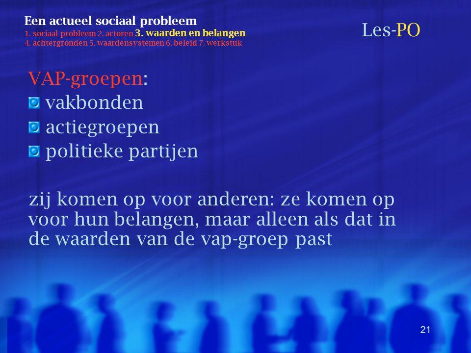 21 Een actueel sociaal probleem 1. sociaal probleem 2. actoren 3. waarden en belangen 4. achtergronden 5. waardensystemen 6. beleid 7. werkstuk Les-PO