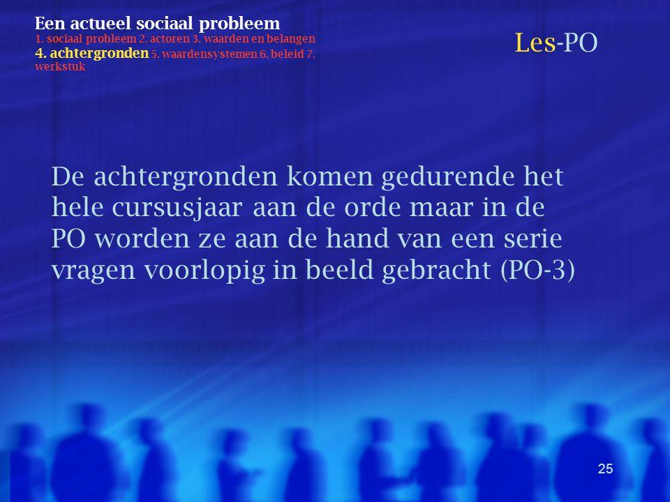 25 Een actueel sociaal probleem 1. sociaal probleem 2. actoren 3. waarden en belangen 4. achtergronden 5. waardensystemen 6. beleid 7. werkstuk Les-PO