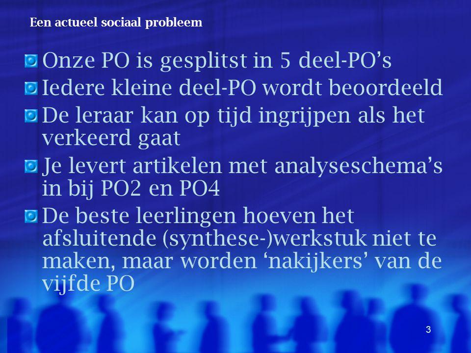 3 Een actueel sociaal probleem Onze PO is gesplitst in 5 deel-PO's Iedere kleine deel-PO wordt beoordeeld De leraar kan op tijd ingrijpen als het verk