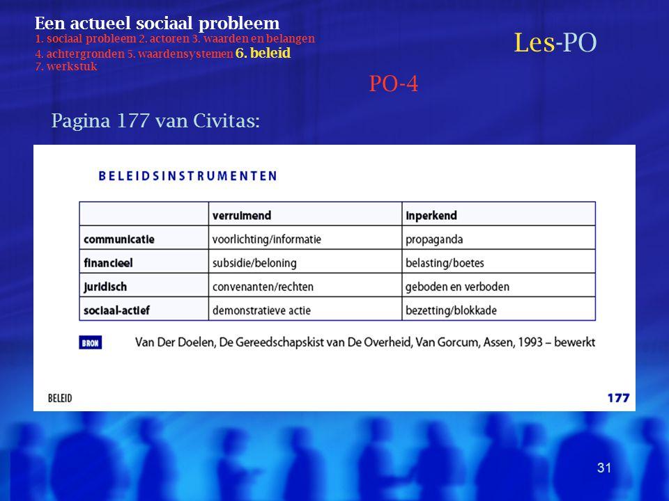 31 Een actueel sociaal probleem 1. sociaal probleem 2. actoren 3. waarden en belangen 4. achtergronden 5. waardensystemen 6. beleid 7. werkstuk Les-PO