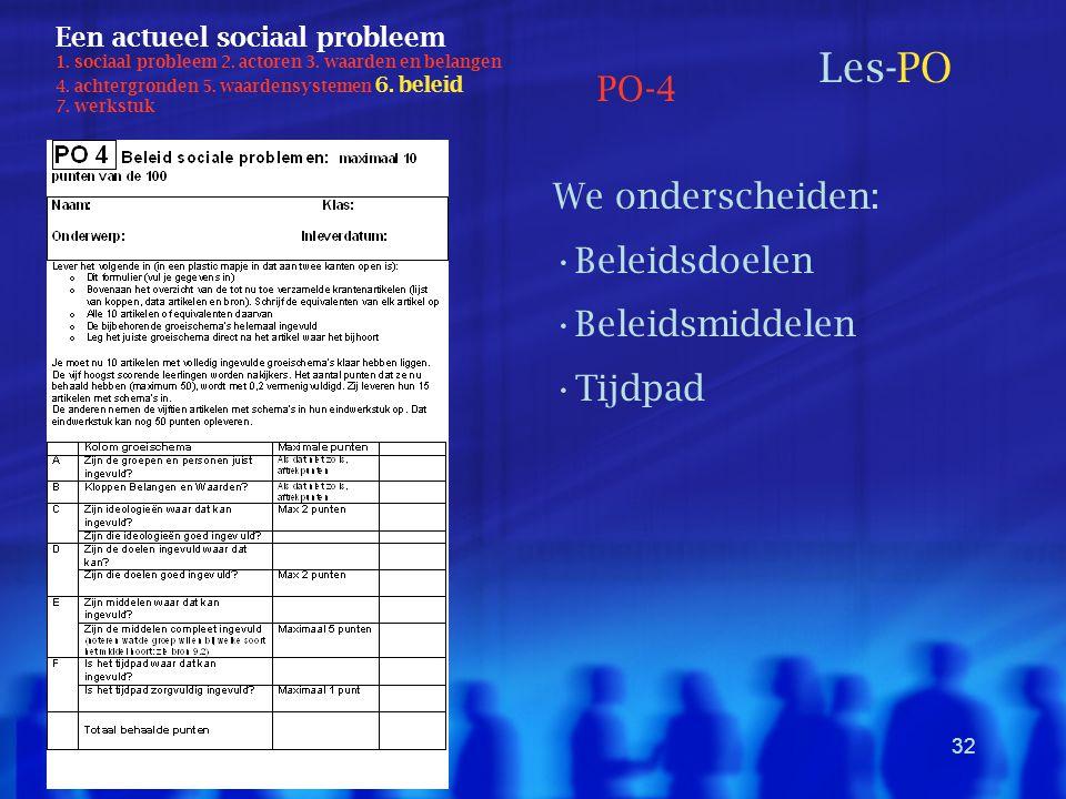 32 Een actueel sociaal probleem 1. sociaal probleem 2. actoren 3. waarden en belangen 4. achtergronden 5. waardensystemen 6. beleid 7. werkstuk Les-PO