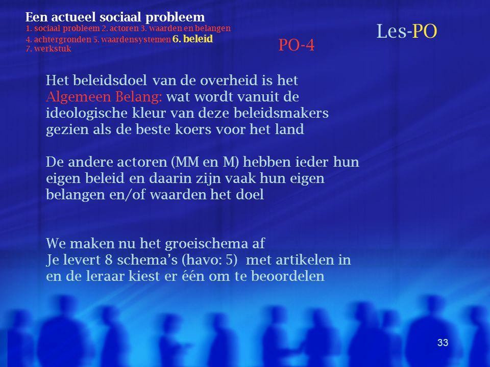 33 Een actueel sociaal probleem 1. sociaal probleem 2. actoren 3. waarden en belangen 4. achtergronden 5. waardensystemen 6. beleid 7. werkstuk Les-PO
