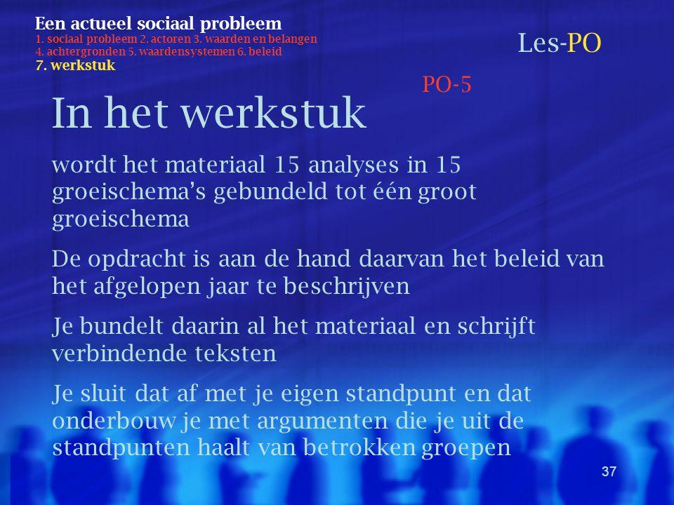 37 Een actueel sociaal probleem 1. sociaal probleem 2. actoren 3. waarden en belangen 4. achtergronden 5. waardensystemen 6. beleid 7. werkstuk Les-PO