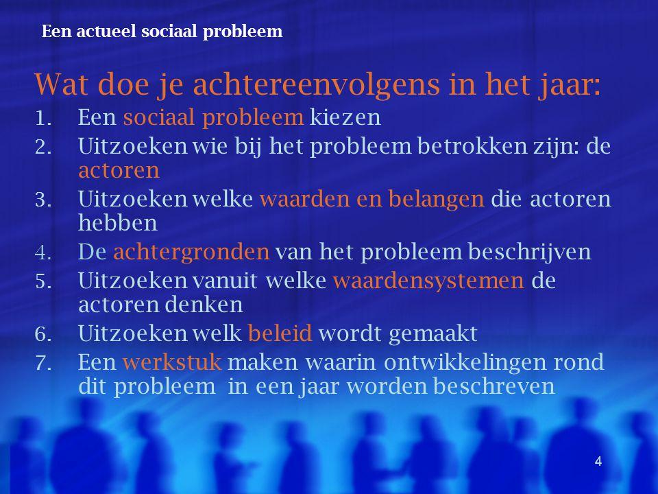 4 Een actueel sociaal probleem Wat doe je achtereenvolgens in het jaar: 1. Een sociaal probleem kiezen 2. Uitzoeken wie bij het probleem betrokken zij
