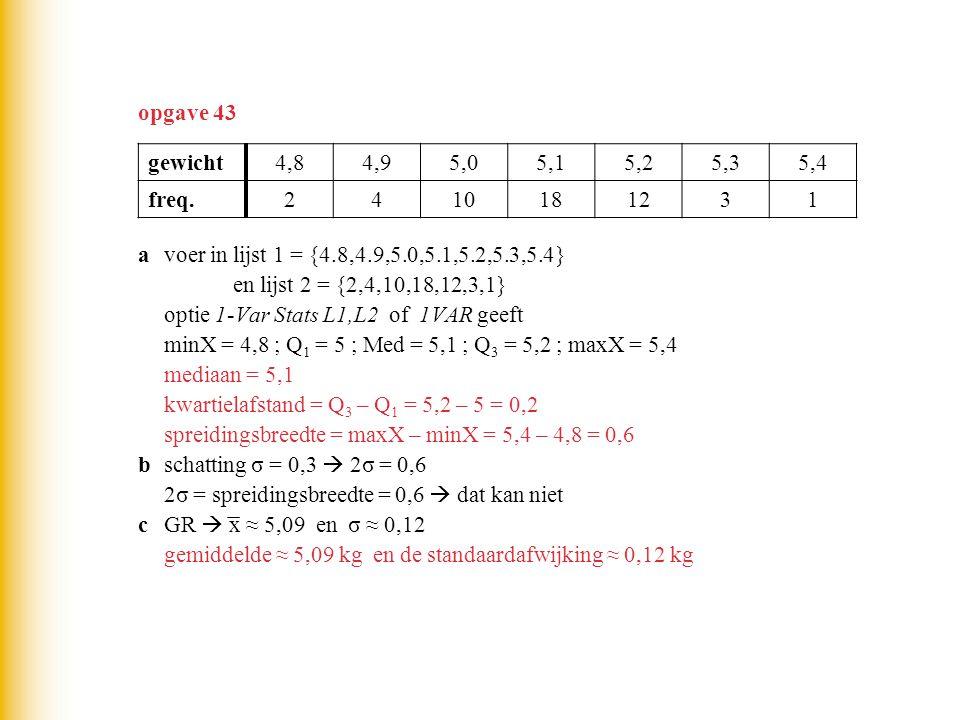 opgave 43 avoer in lijst 1 = {4.8,4.9,5.0,5.1,5.2,5.3,5.4} en lijst 2 = {2,4,10,18,12,3,1} optie 1-Var Stats L1,L2 of 1VAR geeft minX = 4,8 ; Q 1 = 5