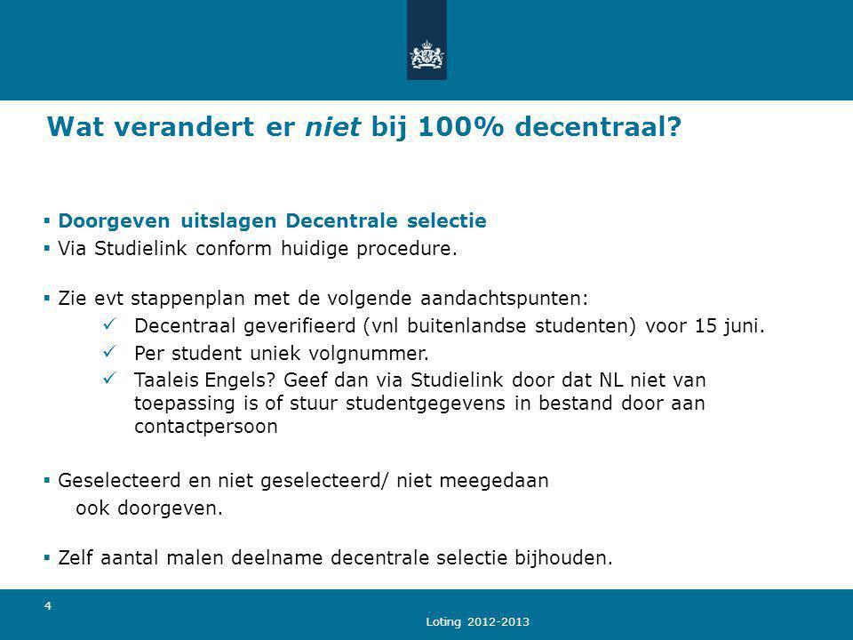 Loting 2012-2013 4 Wat verandert er niet bij 100% decentraal?  Doorgeven uitslagen Decentrale selectie  Via Studielink conform huidige procedure. 