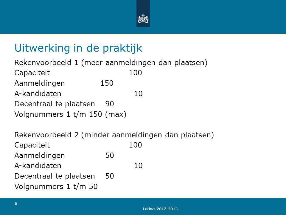 Loting 2012-2013 6 Uitwerking in de praktijk Rekenvoorbeeld 1 (meer aanmeldingen dan plaatsen) Capaciteit 100 Aanmeldingen 150 A-kandidaten 10 Decentr