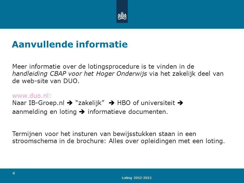 Loting 2012-2013 8 Aanvullende informatie Meer informatie over de lotingsprocedure is te vinden in de handleiding CBAP voor het Hoger Onderwijs via he