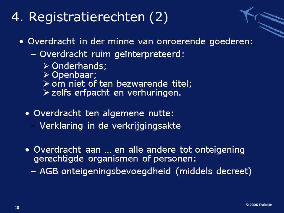 © 2006 Deloitte 20 Overdracht in der minne van onroerende goederen: – Overdracht ruim geïnterpreteerd:  Onderhands;  Openbaar;  om niet of ten bezw