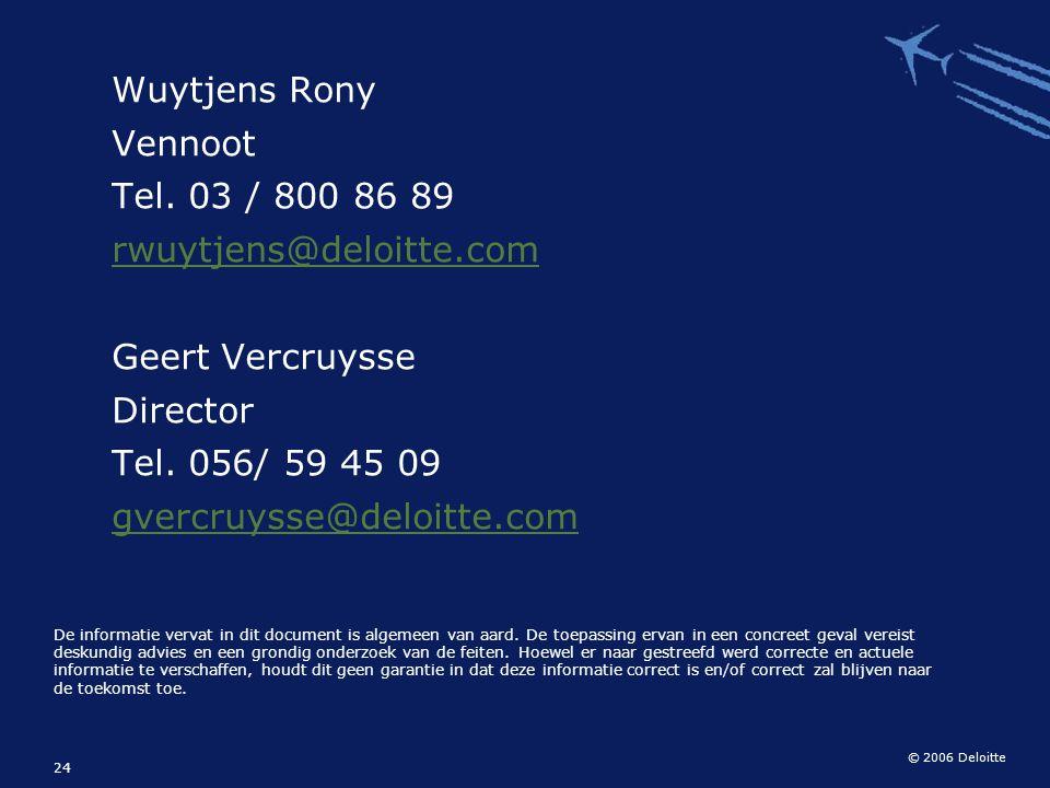 © 2006 Deloitte 24 Wuytjens Rony Vennoot Tel. 03 / 800 86 89 rwuytjens@deloitte.com Geert Vercruysse Director Tel. 056/ 59 45 09 gvercruysse@deloitte.