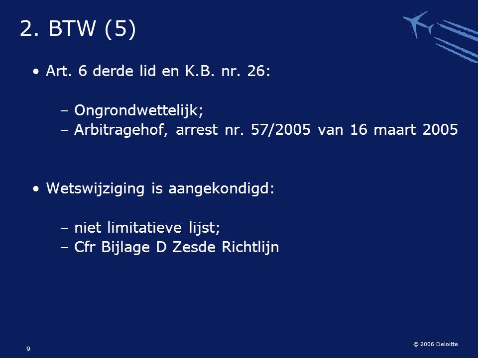 © 2006 Deloitte 9 Art. 6 derde lid en K.B. nr. 26: – Ongrondwettelijk; – Arbitragehof, arrest nr. 57/2005 van 16 maart 2005 Wetswijziging is aangekond
