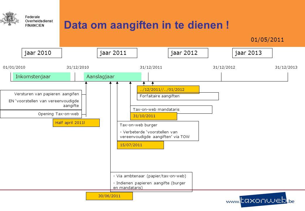 01/05/2011 Federale Overheidsdienst FINANCIEN Data om aangiften in te dienen ! jaar 2010jaar 2013jaar 2012jaar 2011 01/01/201031/12/201031/12/201131/1