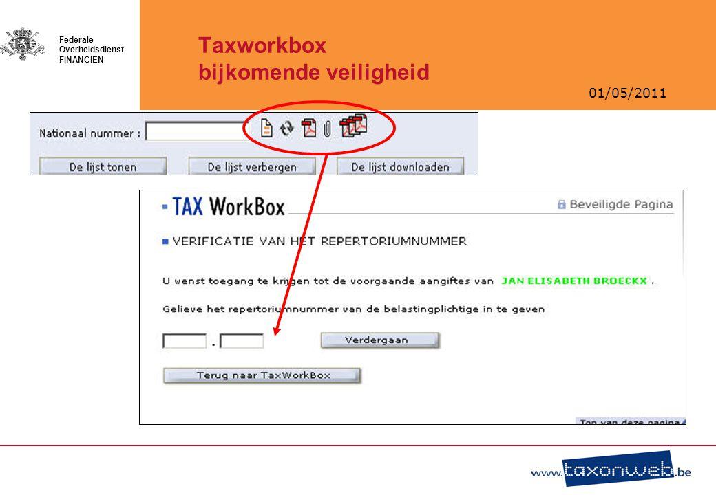 01/05/2011 Federale Overheidsdienst FINANCIEN Taxworkbox bijkomende veiligheid