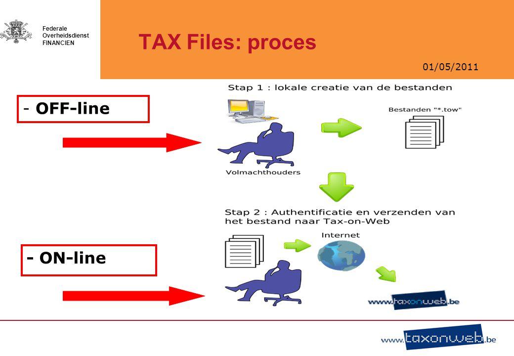 01/05/2011 Federale Overheidsdienst FINANCIEN TAX Files: proces - OFF-line - ON-line