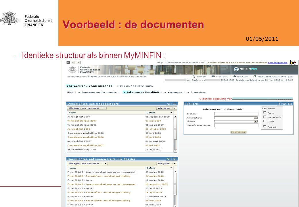 01/05/2011 Federale Overheidsdienst FINANCIEN Voorbeeld : de documenten -Identieke structuur als binnen MyMINFIN :