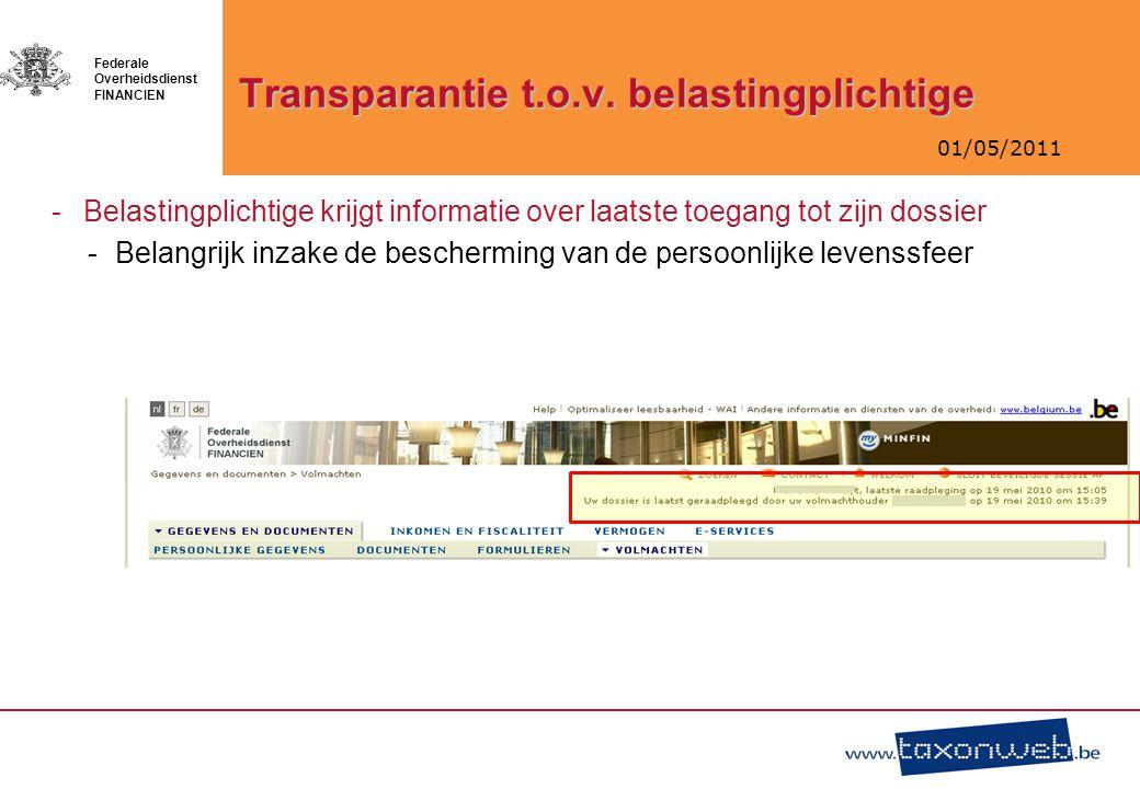 01/05/2011 Federale Overheidsdienst FINANCIEN Transparantie t.o.v. belastingplichtige -Belastingplichtige krijgt informatie over laatste toegang tot z