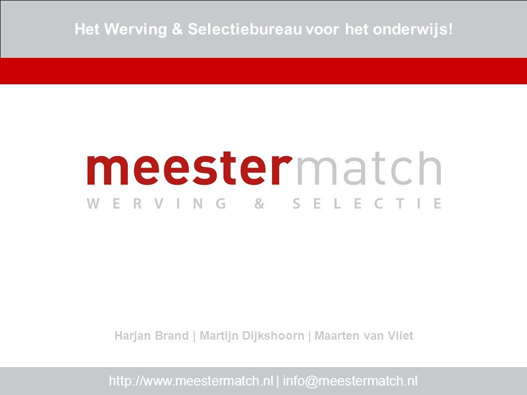 Wie is MeesterMatch http://www.meestermatch.nl | info@meestermatch.nl MeesterMatch : dé werving & selectie specialist voor het onderwijs meer dan 10.000 ingeschreven werkzoekenden landelijk bereik juiste kandidaat, juiste plek snelle service top recruiters