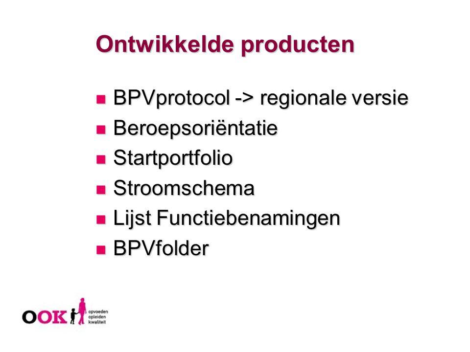 Ontwikkelde producten BPVprotocol -> regionale versie BPVprotocol -> regionale versie Beroepsoriëntatie Beroepsoriëntatie Startportfolio Startportfoli