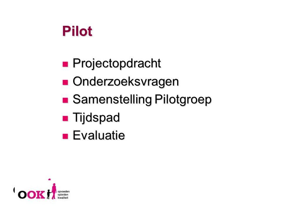 Pilot Projectopdracht Projectopdracht Onderzoeksvragen Onderzoeksvragen Samenstelling Pilotgroep Samenstelling Pilotgroep Tijdspad Tijdspad Evaluatie