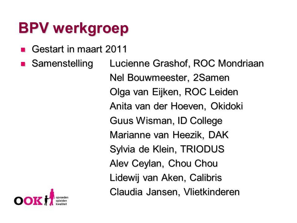 BPV werkgroep Gestart in maart 2011 Gestart in maart 2011 SamenstellingLucienne Grashof, ROC Mondriaan SamenstellingLucienne Grashof, ROC Mondriaan Ne