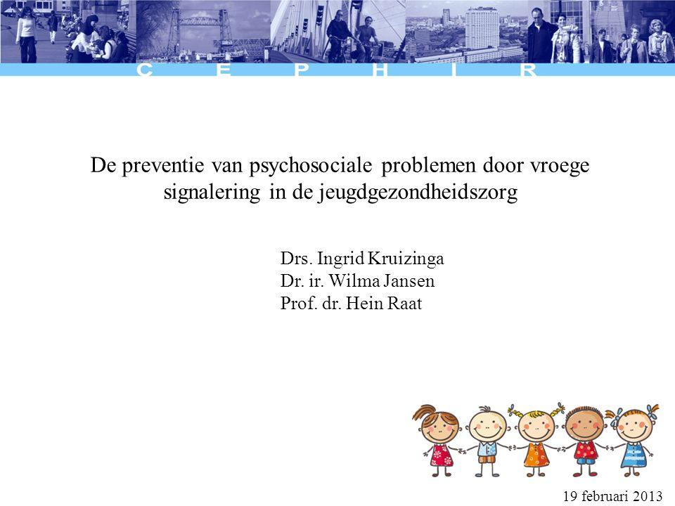 Psychosociale problemen bij peuters Bij ongeveer 8% van de peuters wordt door verpleegkundigen een psychosociaal probleem geconstateerd In 91% van deze gevallen werd er actie ondernomen door de verpleegkundigen (advies, follow-up of doorverwijzen) Velderman et al., 2009 Vragenlijsten kunnen het maken van onderscheid tussen kinderen met en zonder psychosociale problemen sterk verbeteren Theunnissen et al., 2011 (TNO rapport)