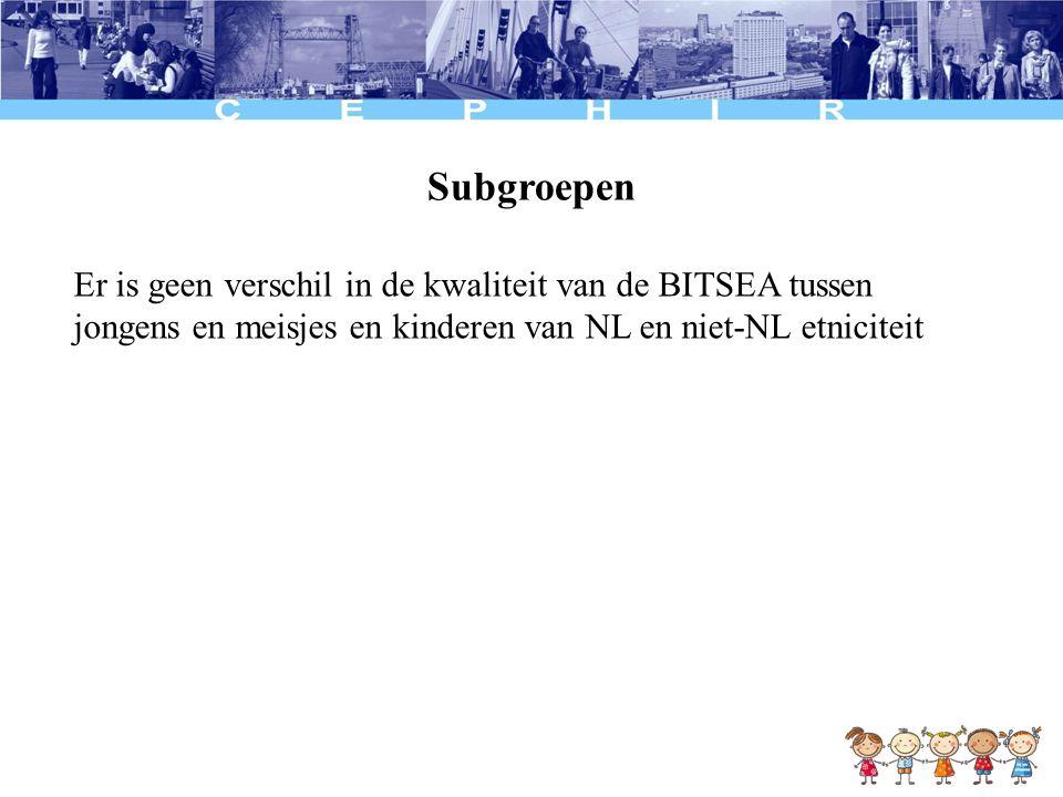Conclusie De BITSEA en KIPPPI zijn van vergelijkbare en goede kwaliteit De BITSEA doet het even goed in subgroepen van geslacht en etniciteit Verdere analyses: Evaluatie van het zorggebruik in het jaar na het consult (follow-up meting), psychosociaal welzijn en (opgevolgde) doorverwijzingen