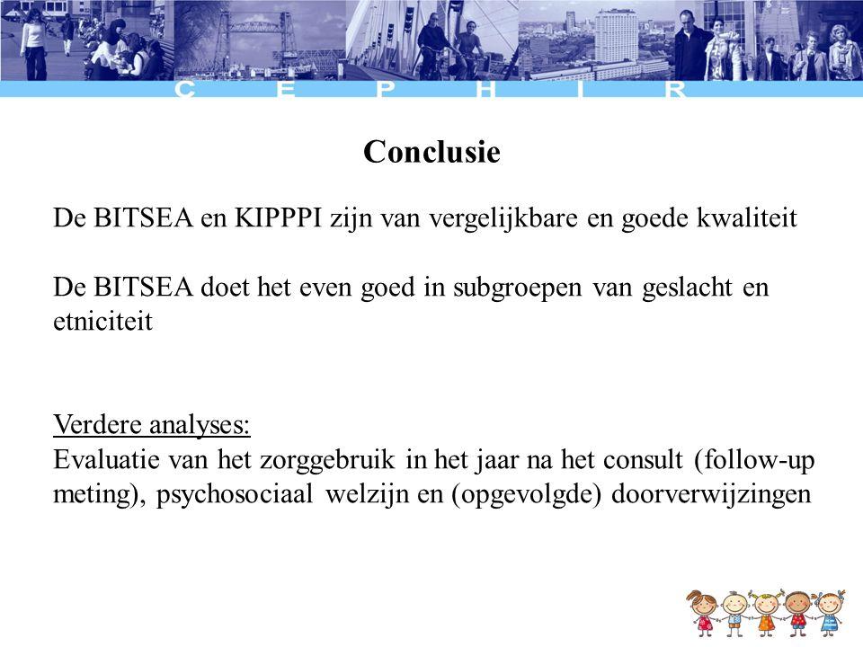 Conclusie De BITSEA en KIPPPI zijn van vergelijkbare en goede kwaliteit De BITSEA doet het even goed in subgroepen van geslacht en etniciteit Verdere