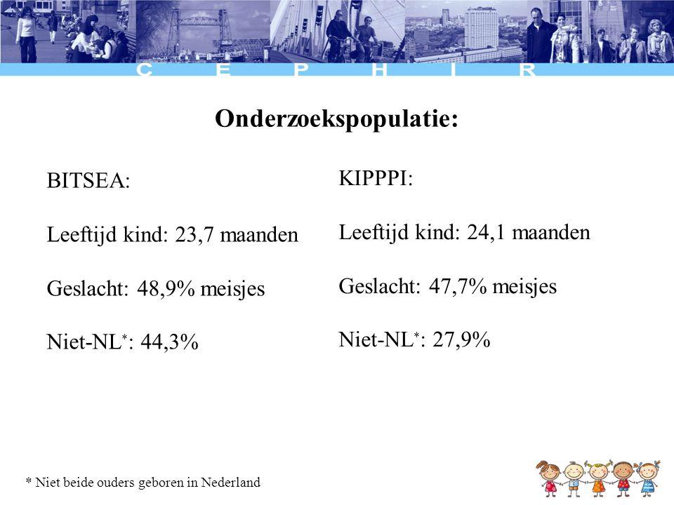 Onderzoekspopulatie: BITSEA: Leeftijd kind: 23,7 maanden Geslacht: 48,9% meisjes Niet-NL * : 44,3% KIPPPI: Leeftijd kind: 24,1 maanden Geslacht: 47,7%