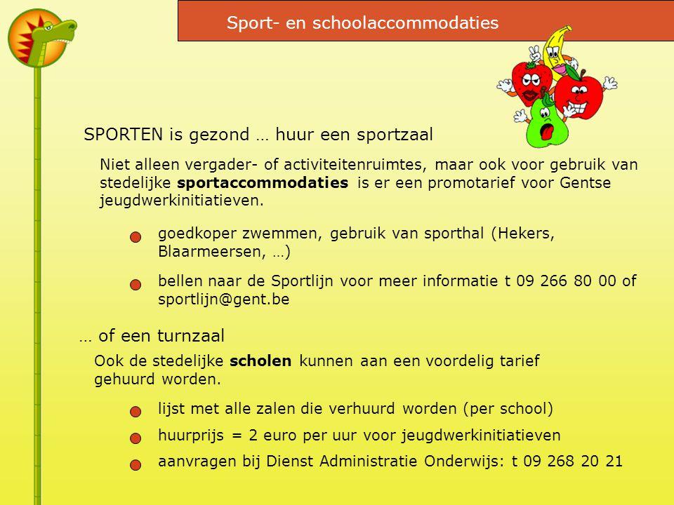 SPORTEN is gezond … huur een sportzaal Niet alleen vergader- of activiteitenruimtes, maar ook voor gebruik van stedelijke sportaccommodaties is er een promotarief voor Gentse jeugdwerkinitiatieven.