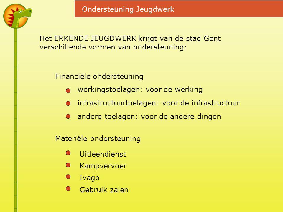 Het ERKENDE JEUGDWERK krijgt van de stad Gent verschillende vormen van ondersteuning: werkingstoelagen: voor de werking infrastructuurtoelagen: voor de infrastructuur andere toelagen: voor de andere dingen Ondersteuning Jeugdwerk Financiële ondersteuning Materiële ondersteuning Uitleendienst Kampvervoer Ivago Gebruik zalen