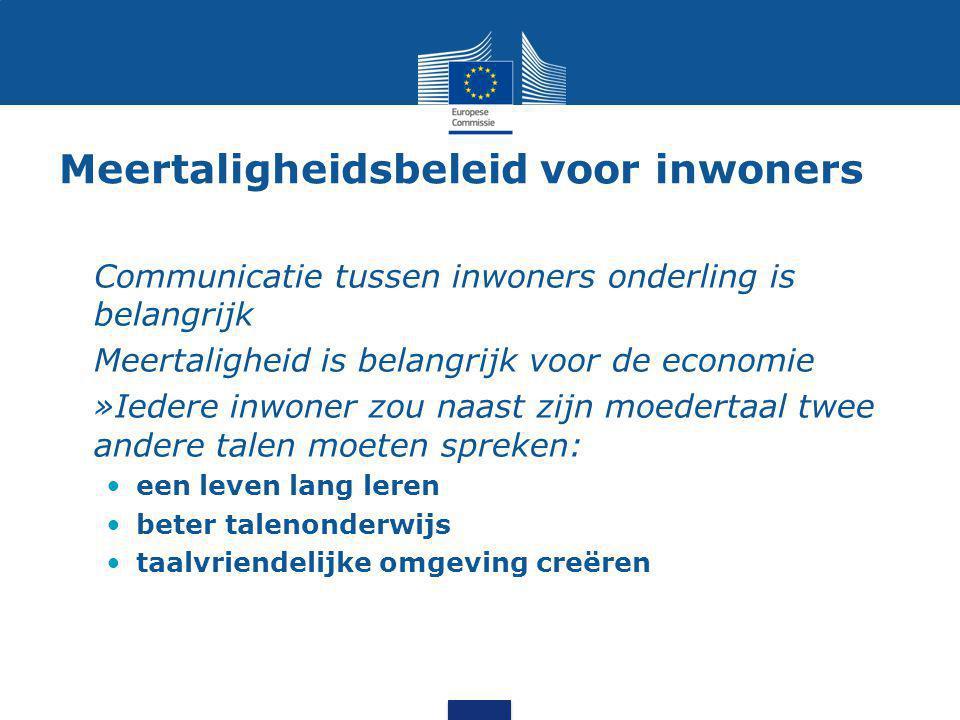 Meertaligheidsbeleid voor inwoners Communicatie tussen inwoners onderling is belangrijk Meertaligheid is belangrijk voor de economie »Iedere inwoner z