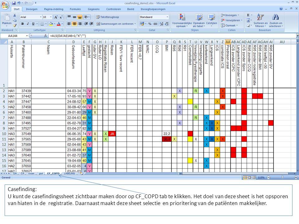 Casefinding: U kunt de casefindingssheet zichtbaar maken door op CF_COPD tab te klikken.