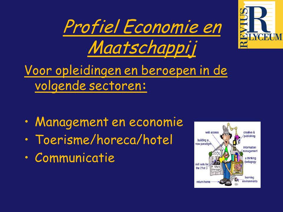 Profiel Economie en Maatschappij Voor opleidingen en beroepen in de volgende sectoren: Management en economie Toerisme/horeca/hotel Communicatie