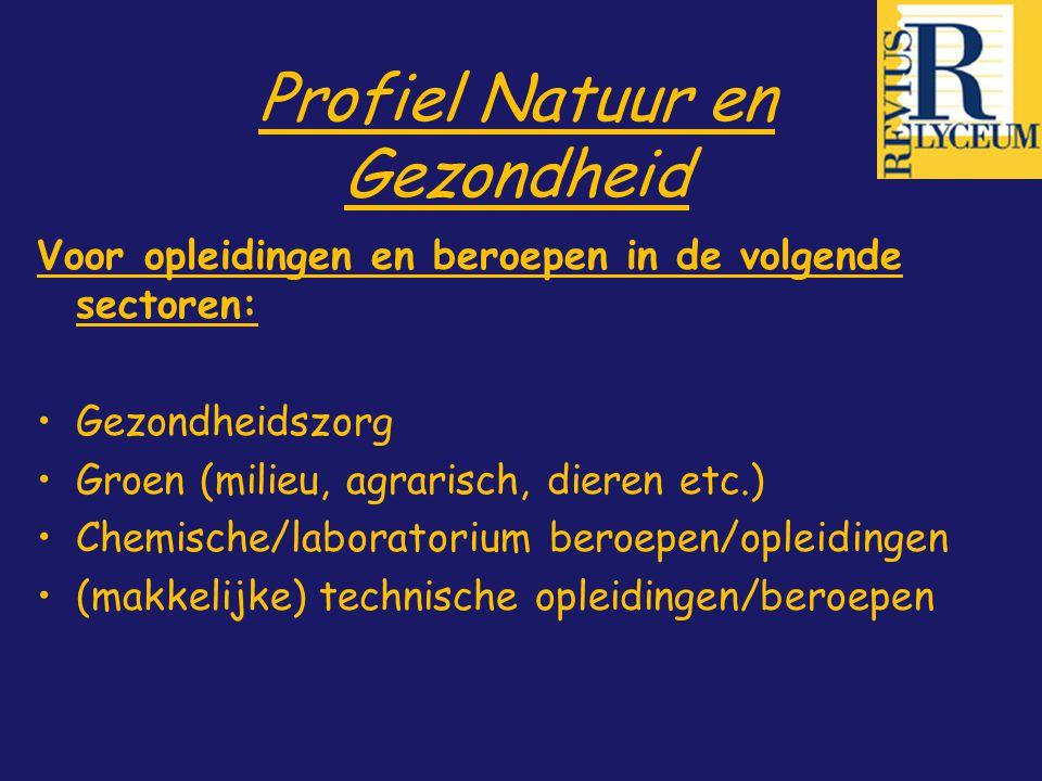 Profiel Natuur en Gezondheid Voor opleidingen en beroepen in de volgende sectoren: Gezondheidszorg Groen (milieu, agrarisch, dieren etc.) Chemische/la