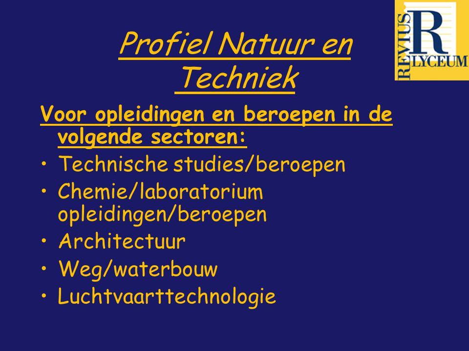 Profiel Natuur en Techniek Voor opleidingen en beroepen in de volgende sectoren: Technische studies/beroepen Chemie/laboratorium opleidingen/beroepen