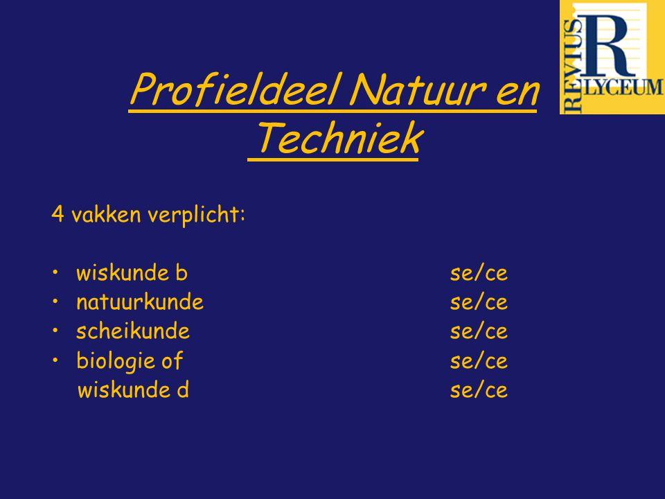 Profieldeel Natuur en Techniek 4 vakken verplicht: wiskunde bse/ce natuurkundese/ce scheikunde se/ce biologie ofse/ce wiskunde dse/ce