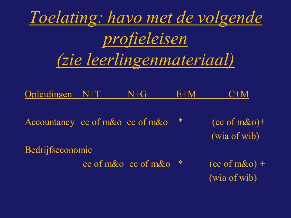 Toelating: havo met de volgende profieleisen (zie leerlingenmateriaal) Opleidingen N+T N+G E+M C+M Accountancy ec of m&o ec of m&o * (ec of m&o)+ (wia