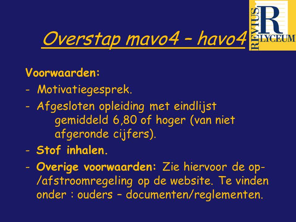 Overstap mavo4 – havo4 Voorwaarden: - Motivatiegesprek. -Afgesloten opleiding met eindlijst gemiddeld 6,80 of hoger (van niet afgeronde cijfers). -Sto