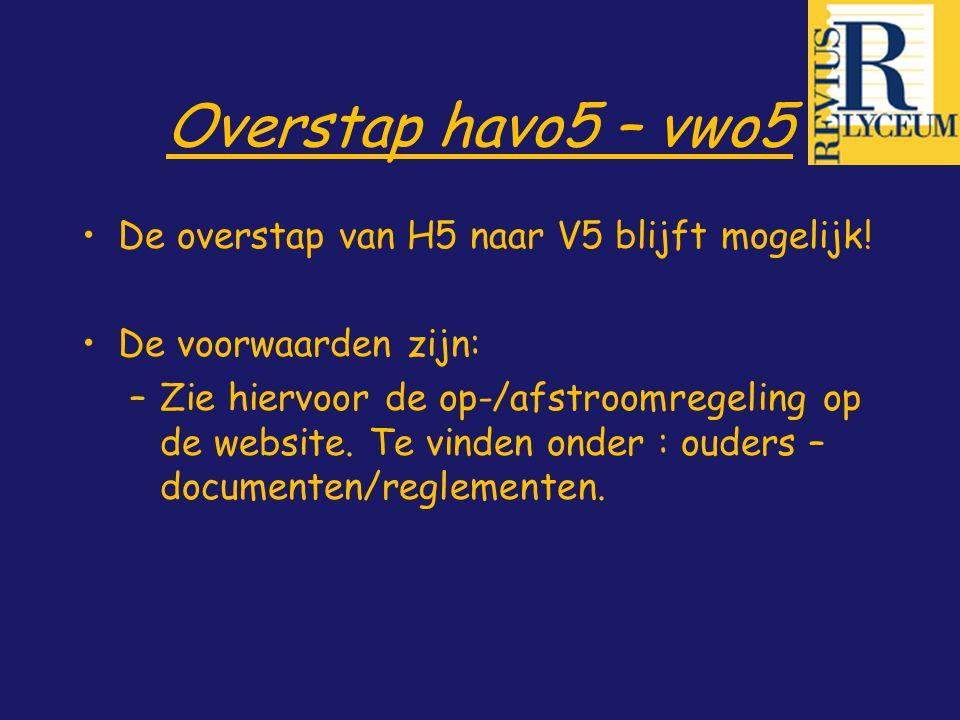 Overstap havo5 – vwo5 De overstap van H5 naar V5 blijft mogelijk! De voorwaarden zijn: –Zie hiervoor de op-/afstroomregeling op de website. Te vinden